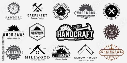 Valokuvatapetti Set Bundle Carpentry Vector Logo, Design Illustration Carpenter Vintage Line Art