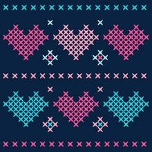 Illustration Vector Heart Cross Stitch With Background For Fashion Design Or Other Products