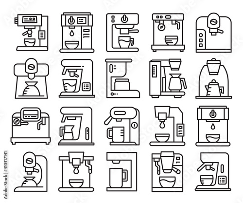 coffee machine line icons set vector Fotobehang
