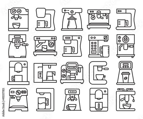 Foto coffee machine line icons set vector