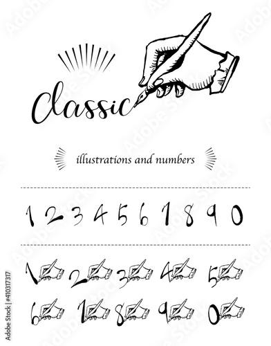 Obraz アンティーク、クラシックなイメージの数字と手のベクターイラスト - fototapety do salonu