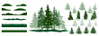 Forest, constructor kit. Silhouettes of beautiful spruce trees, grass, hill. Collection of element for create beautiful forest, park, woodland, landscape. Vector illustration.