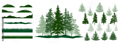 Fototapeta Forest, constructor kit. Silhouettes of beautiful spruce trees, grass, hill. Collection of element for create beautiful forest, park, woodland, landscape. Vector illustration. obraz
