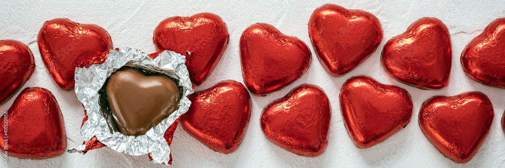Fototapeta Chocolate Candy Red Heart Sweets for Valentine's Day