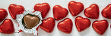Chocolate Candy Red Heart Sweets For Valentine's Day