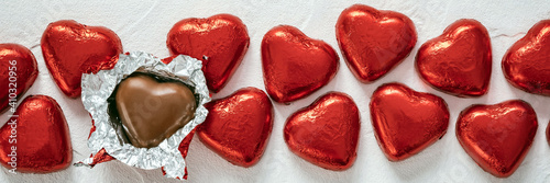 Fototapeta Chocolate Candy Red Heart Sweets for Valentine's Day obraz