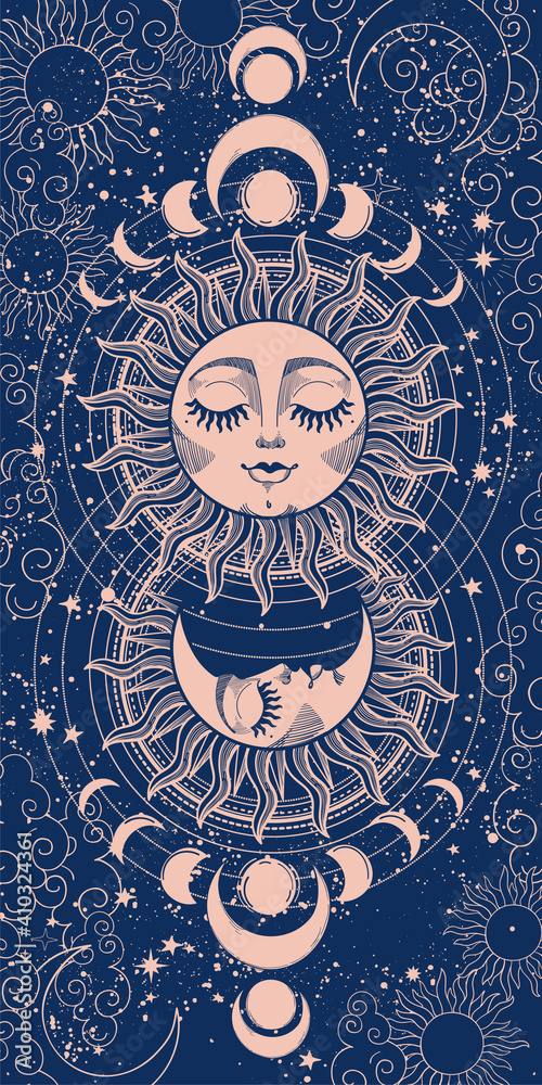 Modern mystical card sun with face and crescent moon on blue background. Heavenly frame for astrology, divination, tarot. Vector hand drawn graphic pattern, vintage design. - obrazy, fototapety, plakaty