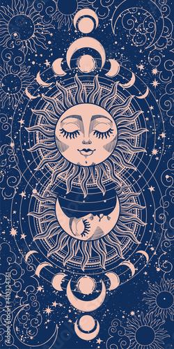 Billede på lærred Modern mystical card sun with face and crescent moon on blue background