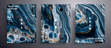 Abstract Vector Poster, Set Of Modern Design Fluid Art Covers. Trendy Background That Can Be Used For Design Cover, Poster, Brochure And Etc. Black, Navy Blue And Golden Creative Iridescent Artwork