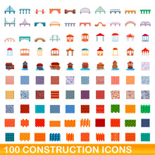 100 Construction Icons Set. Cartoon Illustration Of 100 Construction Icons Vector Set Isolated On White Background