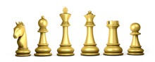 Set Of Gold Chess Pieces Isolated On White Background. 3d Illustration.
