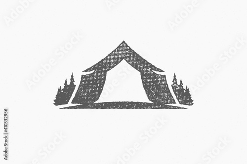 Fényképezés Silhouette of tent located on campsite near coniferous forest in countryside han
