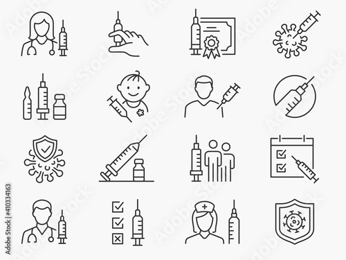 Obraz Vaccine icon set. Collection of syringe, coronavirus, covid 19 and more. Vector illustration. Editable Stroke. - fototapety do salonu