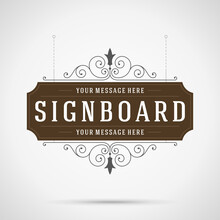 Vintage Ornament Signboard Flourish Ornament Frame Vector Template Design And Place For Text
