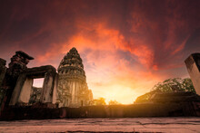 Selective Focus On Phimai Historical Park With Sunset Sky. Landmark Of Nakhon Ratchasima, Thailand. Travel Destinations. Historic Site Is Ancient. Ancient Building. Khmer Temple Classical Architecture