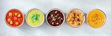 Vegan Cream Soups Panorama. A Variety Of Vegetable Soups, Top Shot, Flat Lay