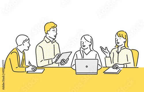 チームでミーティングをするビジネスパーソンのイメージイラスト素材 Fototapet