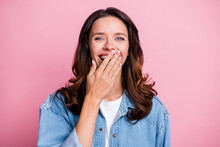 Photo Of Funky Happy Young Woman Laugh Funny Joke Good Mood Isolated On Pastel Pink Color Background