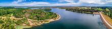 Aerial Panorama Of Devilbend Reservoir Lake On Mornington Peninsula, Victoria, Australia
