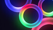 Colorful illuminating circles or torus with nice dynamic Glowing light effect, lowing torus shape, scanning rings, laser show technology, esoteric energy, ultraviolet spectrum, 4k , 3d render.