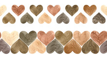 Watercolor Illustration Of Two Brown Hearts Seamless Borders. Valentine's Day Endless Header. Scandinavian Style.