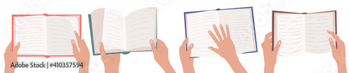 Reading illustrations set. Hands are holding an open book. Fototapeta