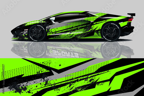 Fotografie, Tablou Car wrap graphic racing abstract background for wrap and vinyl sticker