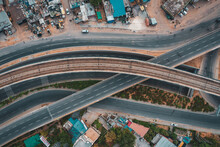 Aerial View Of Gurugram Residential District With Barracs And An Empty Suspended Highway Near The City Of New Delhi In Haryana State During Lockdown, India.