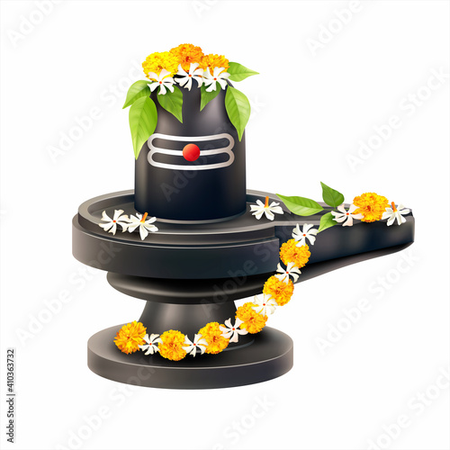 Obraz na plátně Lord Shiva Lingam decorated with bilva (bael) leaves, parijat and zendu flowers