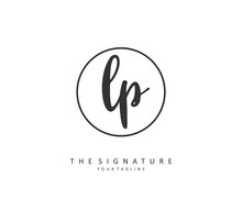 LP Initial Letter Handwriting And Signature Logo. A Concept Handwriting Initial Logo With Template Element.
