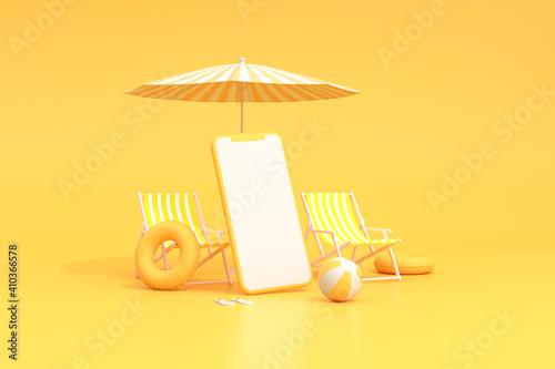 Fototapeta Beach chairs with umbrella and blank screen of smart phone, Summer concept, Minimal scene