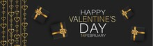 Valentines Day Banner Background Or Website Header With Hanging Golden 3d Hearts And Gift Boxes With Red Bow And Ribbon. Love Design Concept. Romantic Invitation Or Sale Offer Promo.