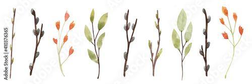 Fototapeta Watercolor set of spring twigs and flowers