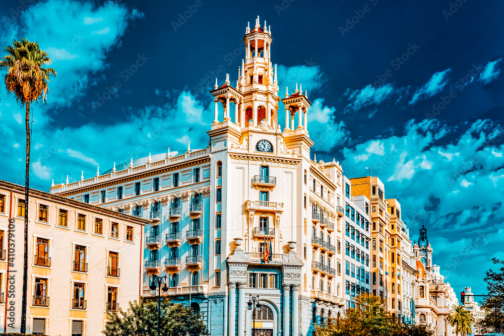 Fototapeta Cityscape of Valencia - third size population  city in Spain.