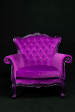 Purple Isolated Bergère Armchair On Black Background