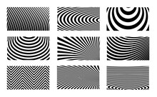 Set Of Optical Illusion Stripped Backgrounds. Abstract Modern Halftone Monochrome Backdrop. Op Art Vector Design.