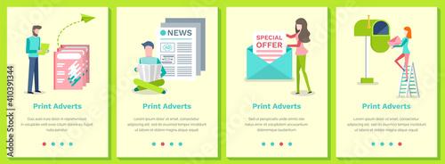 Obraz na plátně Set of illustrations on the topic of print adverts
