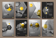 Abstract Patch Brochure Cover Design. Black Info Data Banner Frame. Techno Title Sheet Model Set. Modern Vector Front Page Art. Urban City Blurb Texture. Yellow Citation Figure Icon. Ad Flyer Text