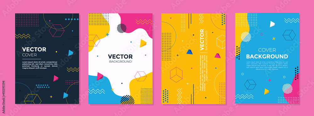 Fototapeta Set of abstract geometric memphis templates. Universal cover Designs for Annual Report, Brochures, Flyers, Presentations, Leaflet, Magazine.