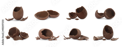 Leinwand Poster Set with broken chocolate eggs on white background, banner design
