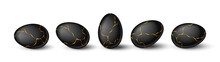 Set Of Realistic Black Eggs With Gold Liquid. Realistic Black Eggs In Different Positions. Vector Illustration With 3d Decorative Objects For Easter Design.