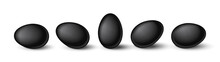 Set Of Realistic Black Eggs On White Background. Realistic Eggs In Different Positions. Vector Illustration With 3d Decorative Objects For Easter Design.
