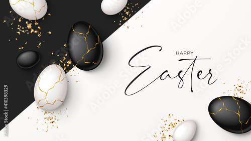 Photo Happy Easter holiday banner