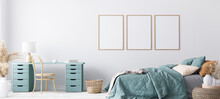 Blue Scandinavian Bedroom With Three Vertical Frames In Bright Design, Poster Mock Up On White Wall Background
