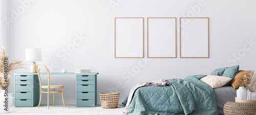 Obraz Blue Scandinavian bedroom with three vertical frames in bright design, poster mock up on white wall background - fototapety do salonu