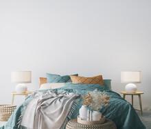 Scandinavian Bedroom Design, Empty Wall Mockup In White Background, 3d Render