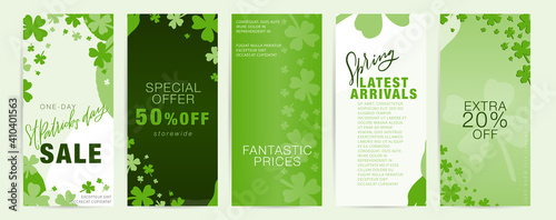 Obraz Saint Patrick's day vertical long flyer set with shamrock frames and green abstract shapes.  Spring special offer, latest arrivals business promotional materials for March 17th. - fototapety do salonu