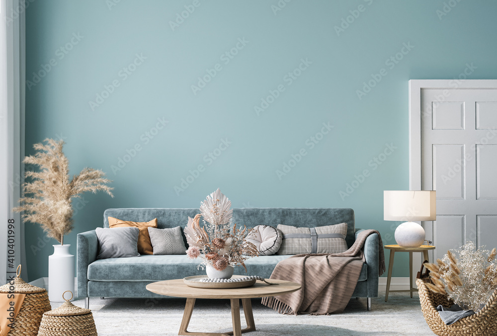 Fototapeta Home interior mock-up with blue sofa, wooden table and decor in blue living room, 3d render