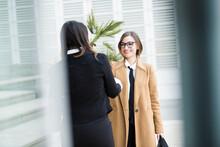 Colleghe Manager Si Incontrano In Contesto Business In Esterni Vicino Ad Un Palazzo Moderno Fatto Di Specchi: Parlano Entrambe Al Telefono Mentre Camminano
