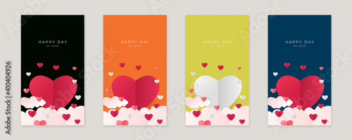 Obraz Set of pink yellow blue happy valentine's day vertical banners, posters, cards or flyers with origami hearts in paper cut style. Design template for advertising, web, social media, stories templates - fototapety do salonu